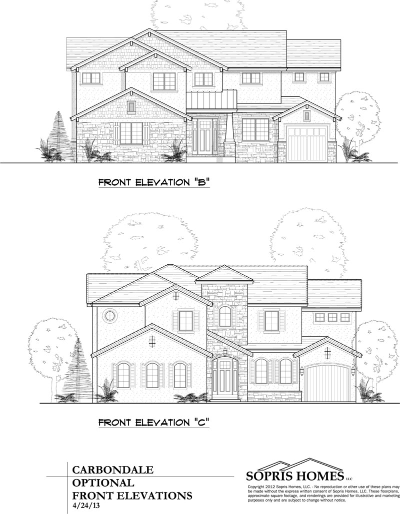 elevation options to carbondale model plan