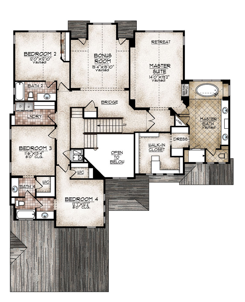 carbondale model upper level floor plan by sopris homes