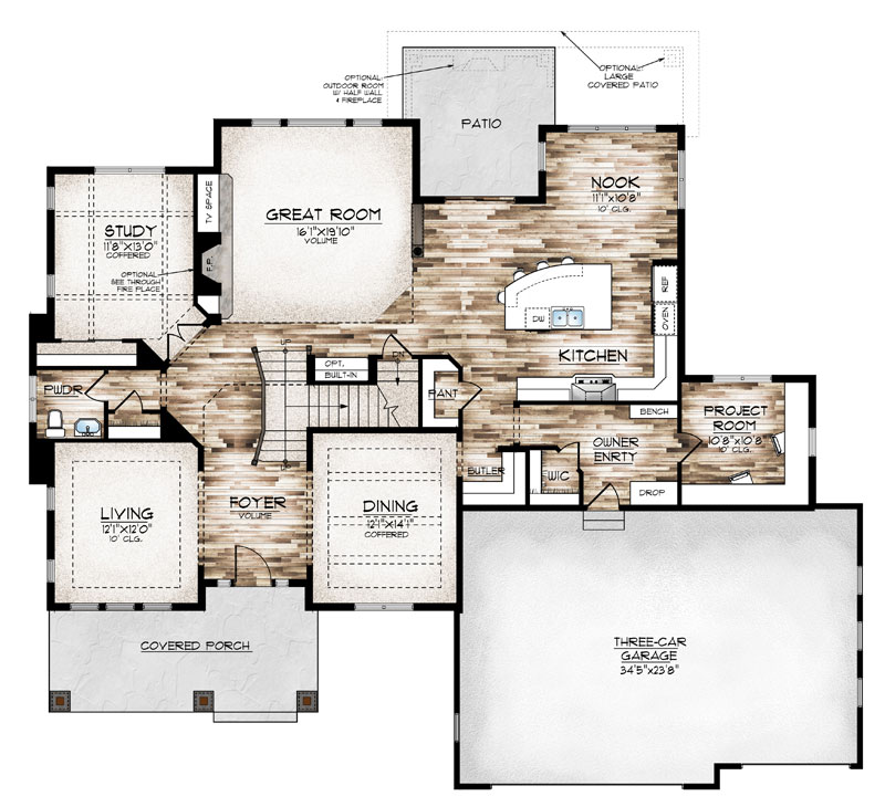 sterling model plan main level by Sopris Homes